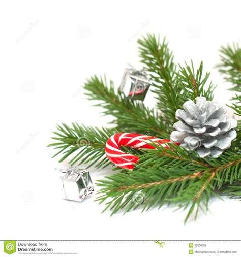 christmas tree branches and decorations stock image