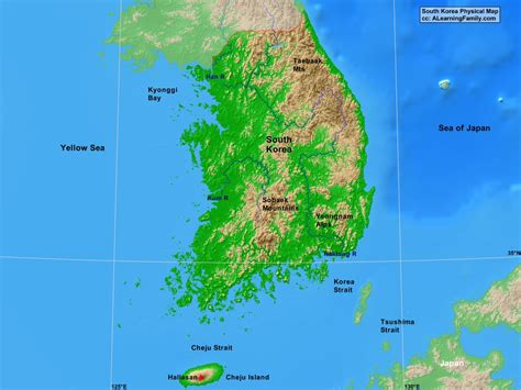 physical map of south korea south korea physical map a learning family