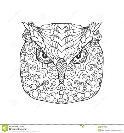 owl head coloring page funny penguin adult coloring page vector illustration