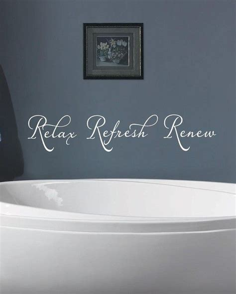 words for bathroom relax refresh renew bathroom vinyl lettering wall words