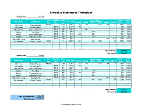 freelance biweekly printable time sheet