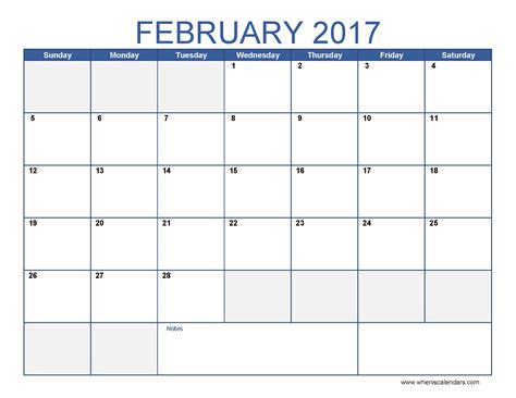 month calendar template february 2017 calendar template printable monthly calendar