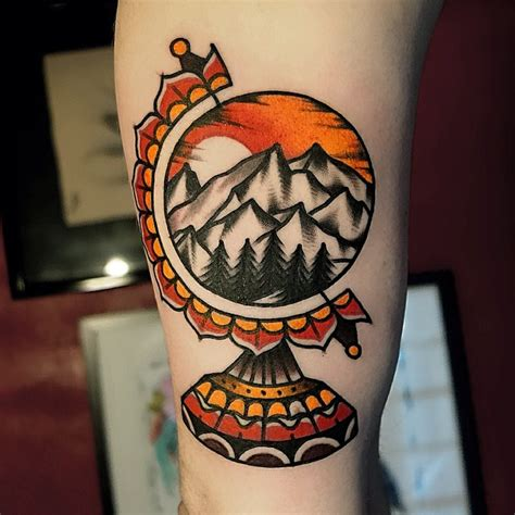 traditional globe tattoo 63 wonderful mountain tattoos
