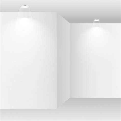 white lights in room empty white room with spot lights vector free