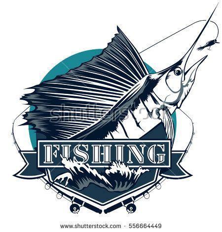sailfish boat emblem blue marlin fishing emblem isolated on white sail fish