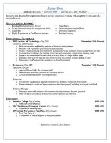 Resume Exle For Server by Restaurant Server Resume Exle Cashier Bartender Waitress Hostess