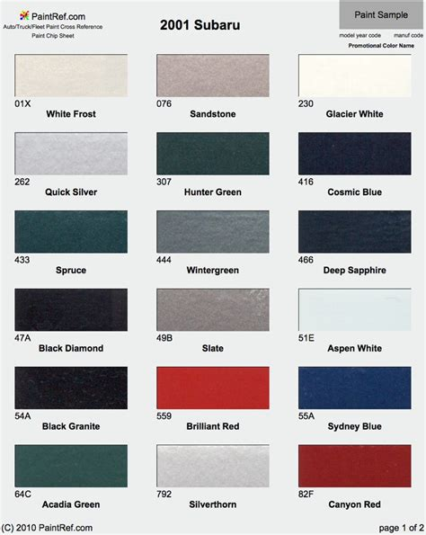 2017 Paint Colors Of The Year by Paint Chips 2001 Subaru