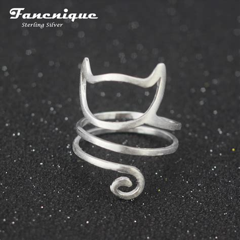 925 sterling silver twine cat ring jewelry 925