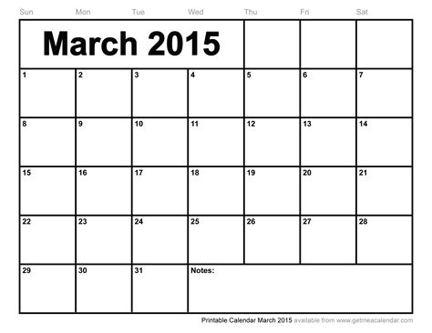 Calendar 2015 March Printable Printable Calendar March 2015