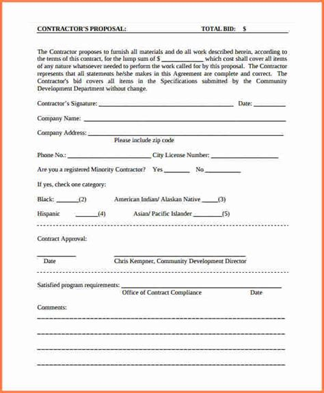 proposal form template printable sle construction