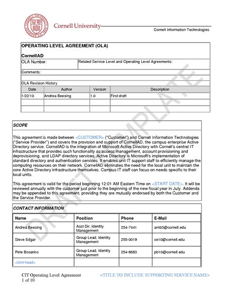 ola operational level agreement template fantastic itil ola template ideas themes ideas