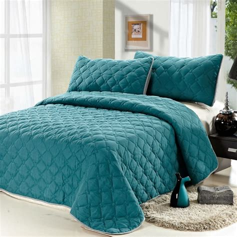 Solid Color Size Quilts 3pcs Reversible Quilt Set Comfortable Coverlet Set Solid