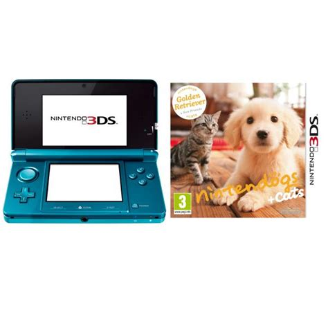 nintendogs golden retriever 3ds nintendo 3ds console aqua blue bundle includes nintendogs and cats golden