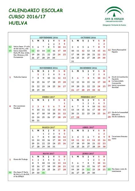 Calendario Escolar Andalucia 2017 Calendario Escolares 2016 2017 Huelva Imagenes Educativas