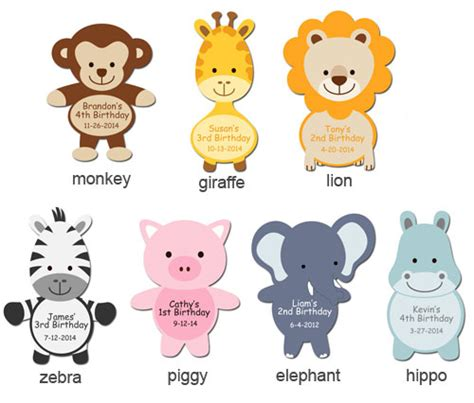 Bear Decorations For Home by Jungle Animals Shaped Personalized Labels Baby Shower