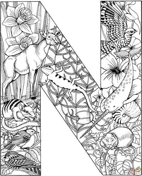 Letter N Coloring Pages Free by Coloring Pages For Letter N Az Coloring Pages