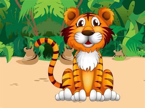cute tiger jungle plant cartoon picture pretty desktop hd