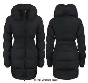 womens quilted belted zip padded coat warm winter