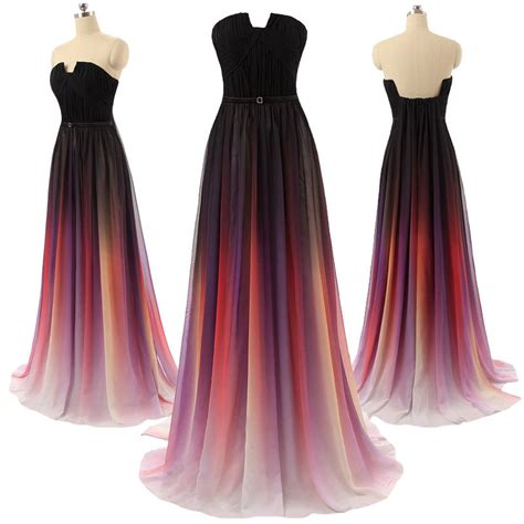 Sale Real Pict Tassa Maxi gradient chiffon prom evening dress
