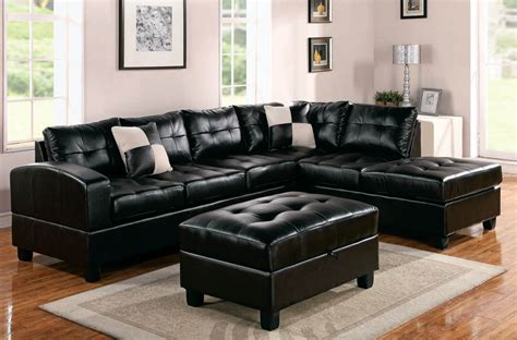 black leather sectional with ottoman modern black leather sectional sofa home furniture design