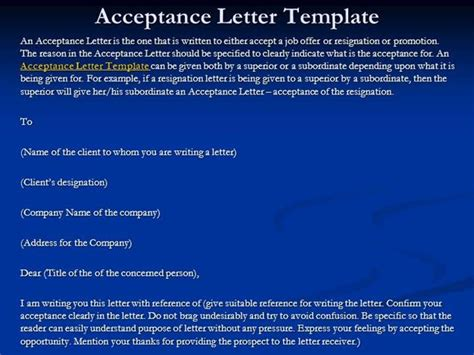 Acceptance Letter Ppt Acceptance Letter Template Authorstream