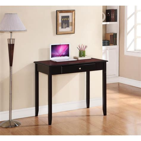 linon home decor camden black cherry desk with storage