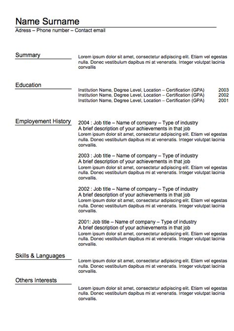 resume templates word classic resume 5 exles of resumes