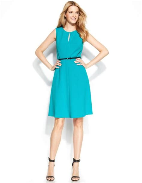 calvin klein sleeveless belted dress in green lagoon lyst