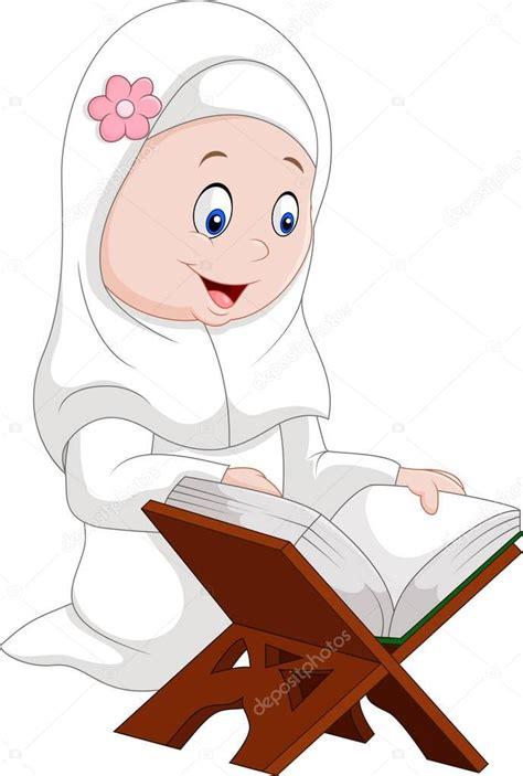 chica de dibujos animados leer coran vector de stock