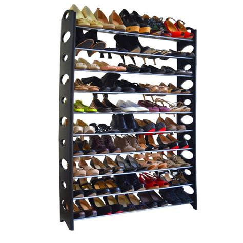 shoe storage rack organizer 10 tier shoe rack for 50 pair wall bench shelf closet