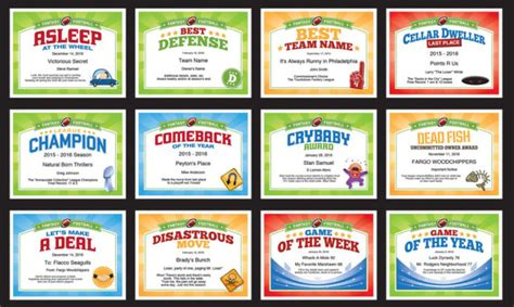 fantasy football certificates award templates printables personalize