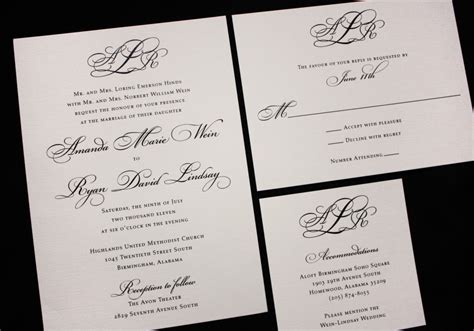 Wedding Invitations Formal by Formal Black Monogram Fancy Script Wedding Invitations