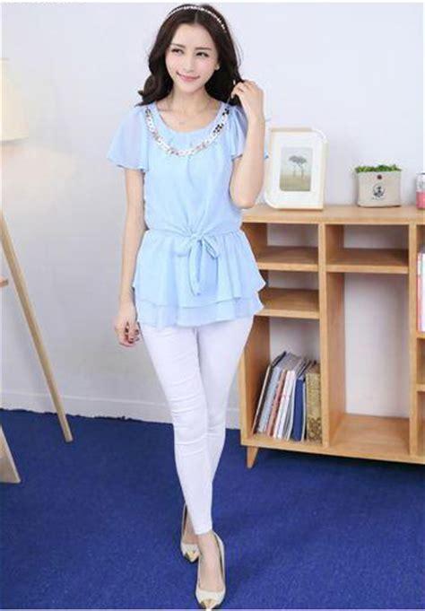 Baju Atasan Casual Lengan Panjang Putih Biru Korean Style baju atasan cewek terbaru model terbaru jual murah import kerja