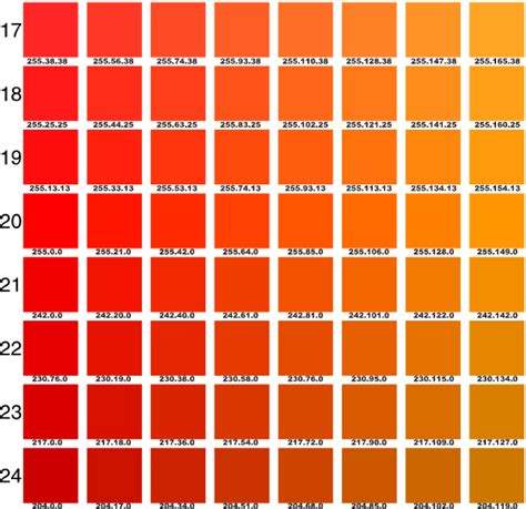 shades of orange color chart pantone orange chart google search pin it girls