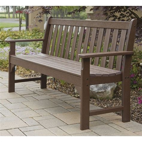 polywood vineyard bench polywood vineyard 60 quot outdoor bench in mahogany gnb60ma