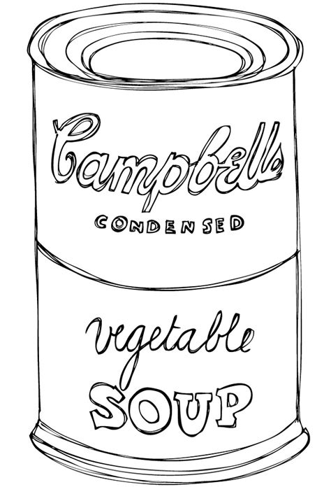soup template cbell soup can coloring page sketch coloring page