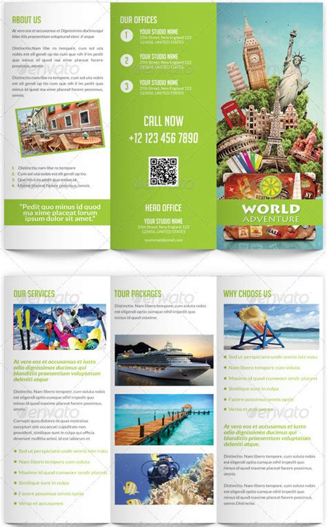 travel and tourism trifold brochure template pinterest