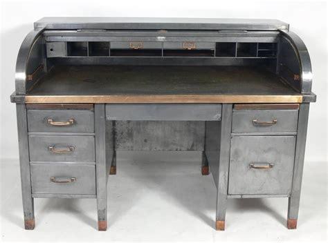 1930s banker s metal roll top industrial desk for sale at