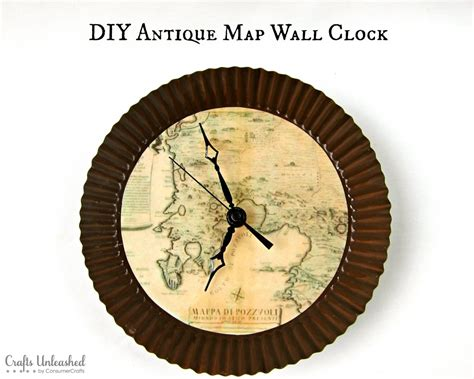 make your own clock with an antique map theme