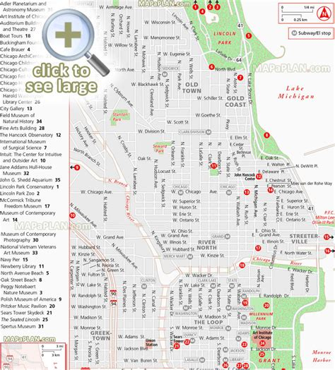 lincoln park chicago map chicago maps top tourist attractions free printable