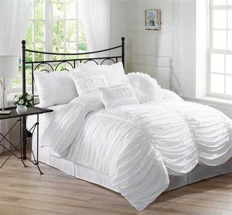 7 piece chic ruched white comforter set bed in a bag full