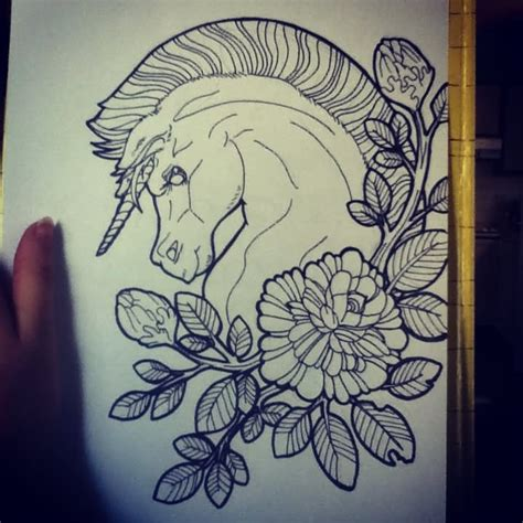 cute unicorn pony tattoo design by nina stern