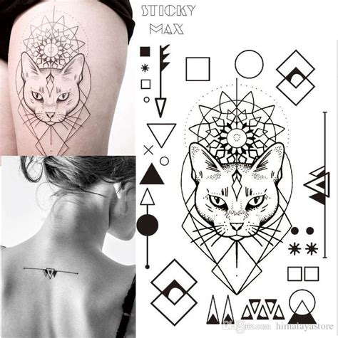 w17 geometric cat temporary tattoo with square round