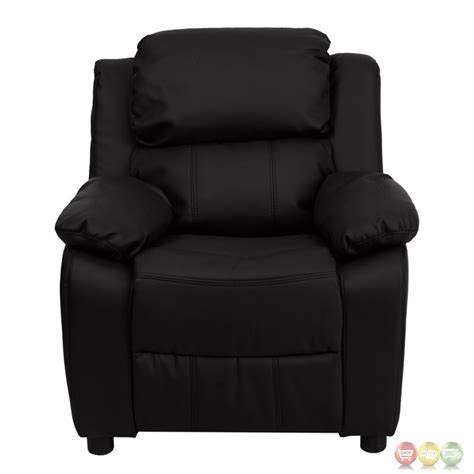 kids leather recliner deluxe heavily padded contemporary black leather kids