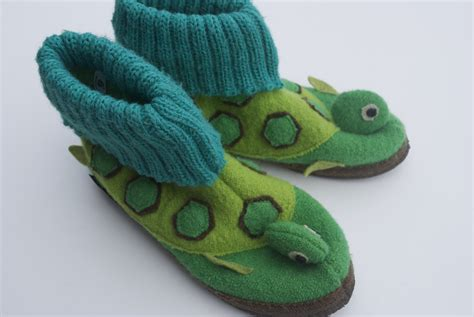 turtle slippers garnet hill children s wool turtle slippers size 3 made in