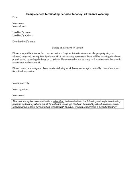 landlord end of tenancy letter template unauthorized tenant letter template exles letter