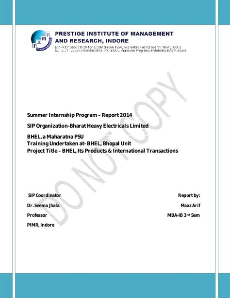 Mba Internship In Psu by Maaz Arif Mba Ib Bhel Internship Report