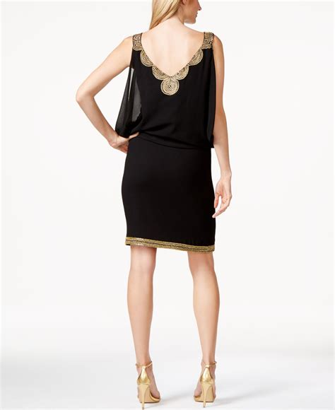 black beaded dresses j kara beaded cocktail dress in black lyst