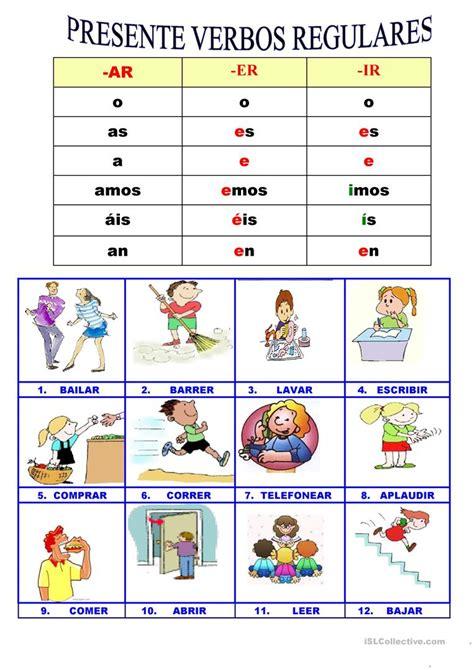 imagenes en ingles vervos presente verbos regulares trabajos hojas de trabajo de