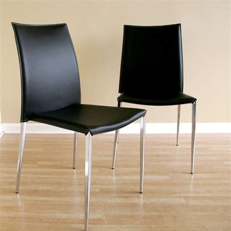 Stackable Leather Dining Chairs Benton Stackable Black Leather Dining Chair Dcg Stores